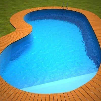 Swimming pool - wood around | 3D model