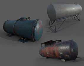 Tank container collection of 3 - PBR - lowpoly - 3D model