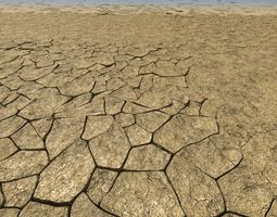 Cracked dry earth animated 3D Model