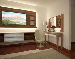Modern interior design bedroom 3D