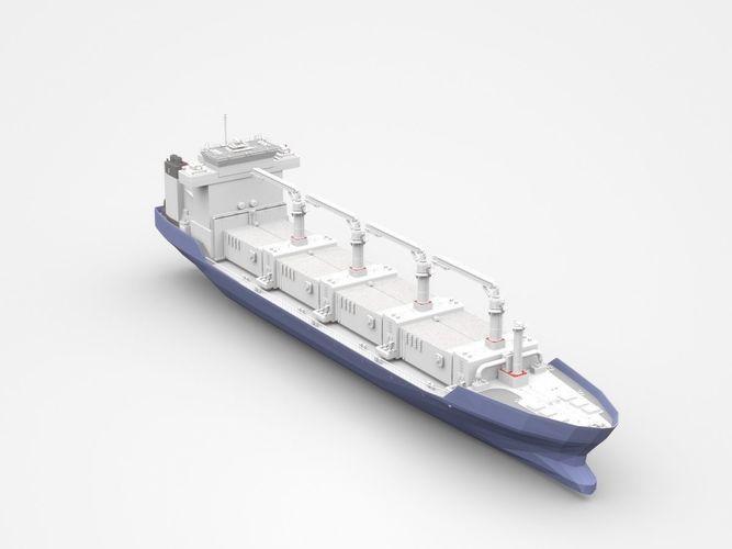 large blue freight ship 3d model max obj mtl 3ds c4d lwo lw lws ma mb 1