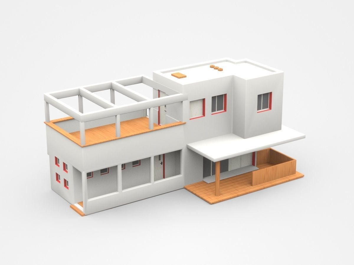 Modern Two Storey House With Veranda 3d Model