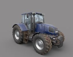 Dirty Tractor lowpoly 3D model