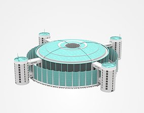 3D Huge Industrial Construction With Attached Buildings
