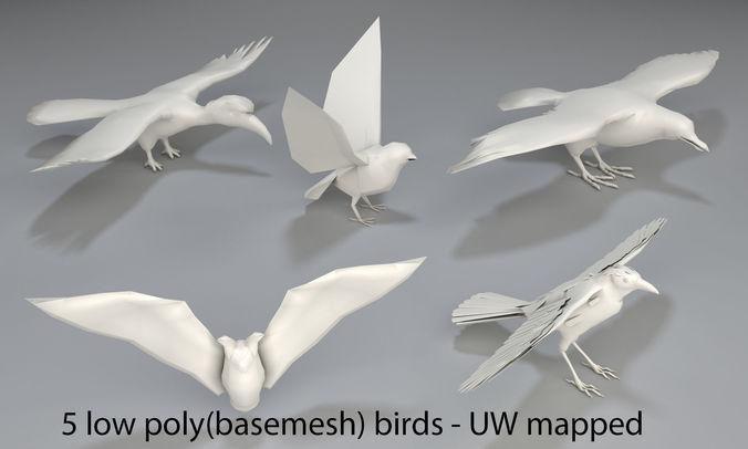 birds - 5 pieces-low poly-part 3 3d model low-poly max obj mtl fbx stl 1