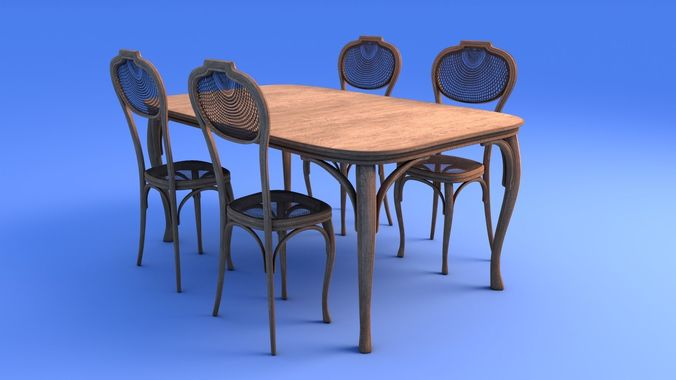 Outstanding Art Nouveau Dining Table And Chairs 3D Model Download Free Architecture Designs Photstoregrimeyleaguecom