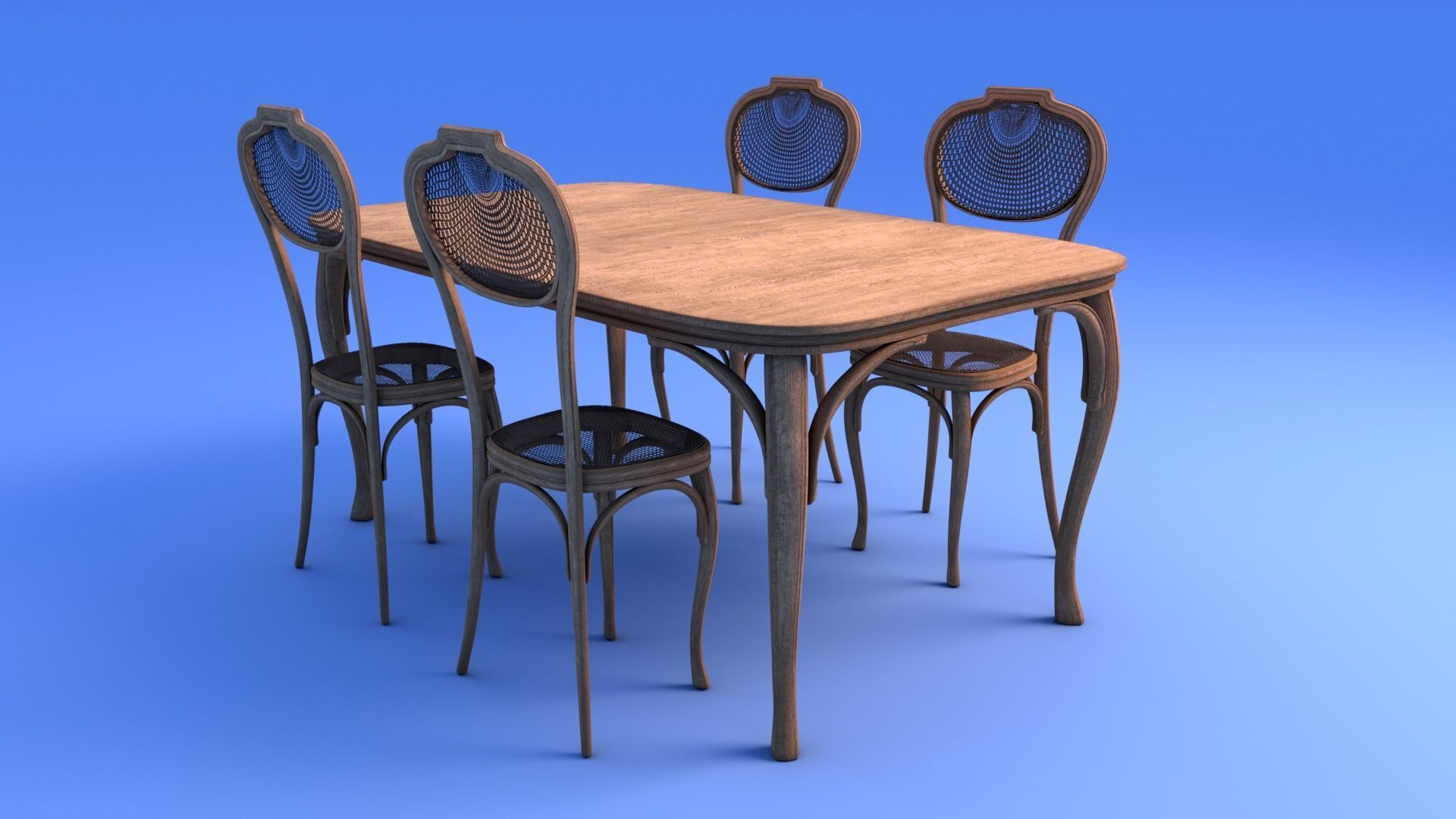 Art Nouveau Dining Table And Chairs 3d Model Obj Mtl Fbx Ma Mb 5
