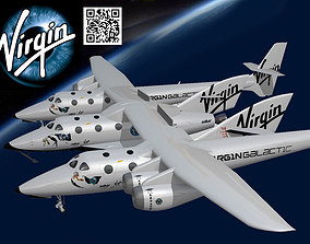3D model animated Virgin Galactic Spaceship 2