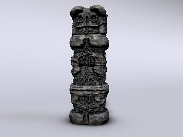 stone totem module 3d model low-poly max obj mtl 3ds fbx c4d 1