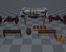 Market Place Items 3D model game-ready