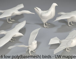 3D asset Birds - 6 pieces-low poly-part 4