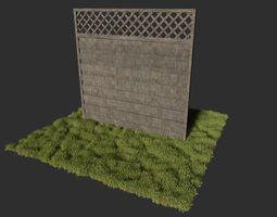 3D model realtime Modular wooden fence