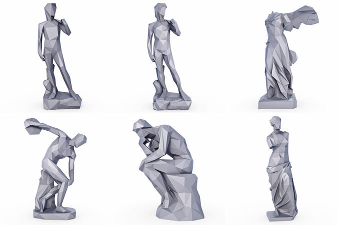 sculptures low poly 3d model max obj mtl 3ds fbx stl 1