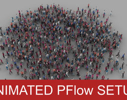 3D model animated Crowd Pflow setup
