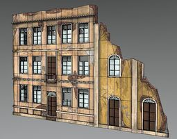 Abandoned Building facade french 3D model