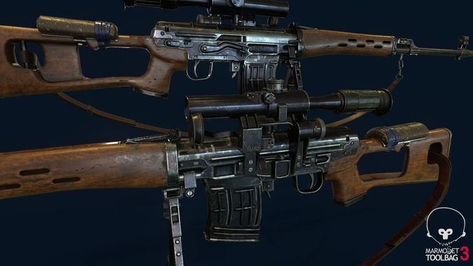 svd - dragunov sniper rifle  3d model low-poly rigged max obj mtl fbx 1