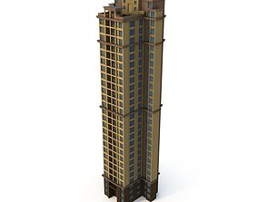 Asian Architecture Residential building 04 LOD 3D low-poly