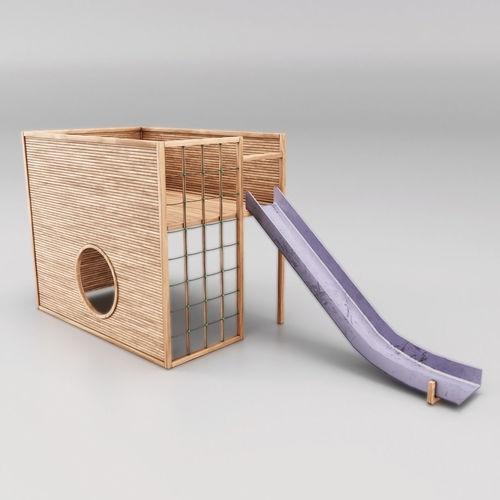childrens slide wooden 3d model low-poly max obj mtl fbx 1