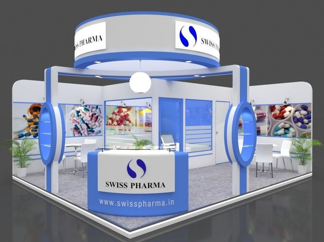 exhibition stall 3d model 6x5 mtr 2sides open swiss pharma stand 3d model max 1