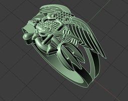 mens Eagle ring with gun 3D print model