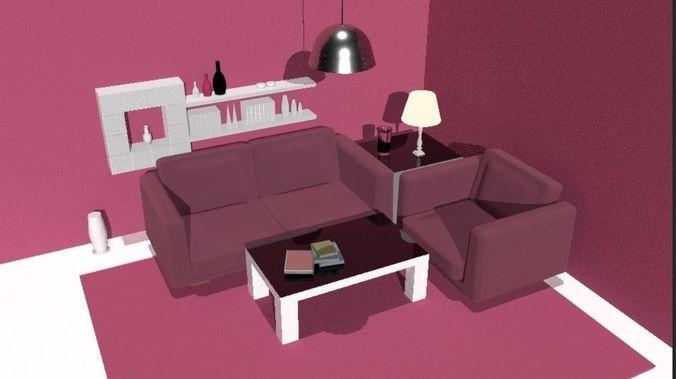 Livingroom Cartoon   3d Cartoon Modern Living Room Realtime Cgtrader