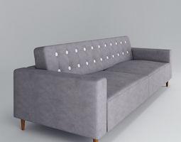 suede 3D model Grey Sofa