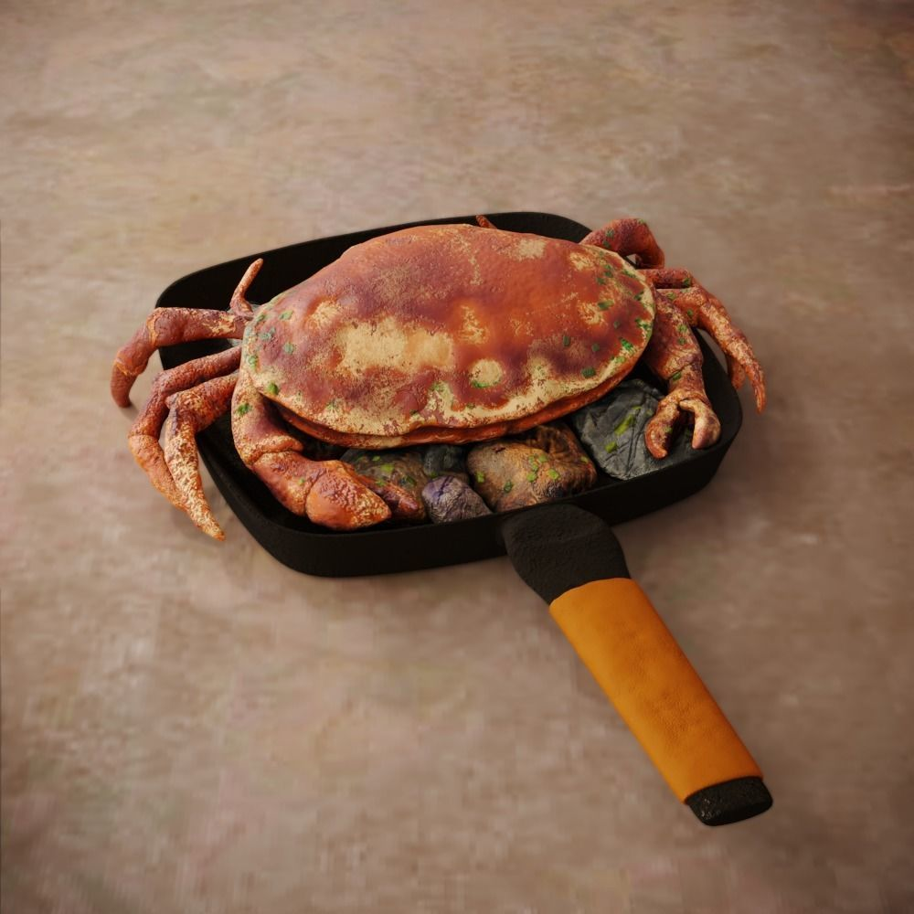 Boiled Crab in a Frying Pan