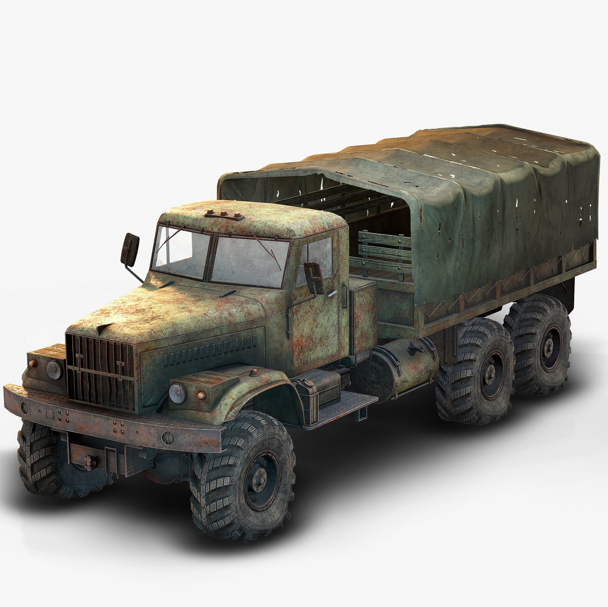 Low Poly Kraz 255 Flatbed Rusted