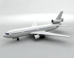 3D model DC-10 Airliner - Generic White