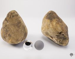 River rock 003 - Photogrammetry 3D asset game-ready