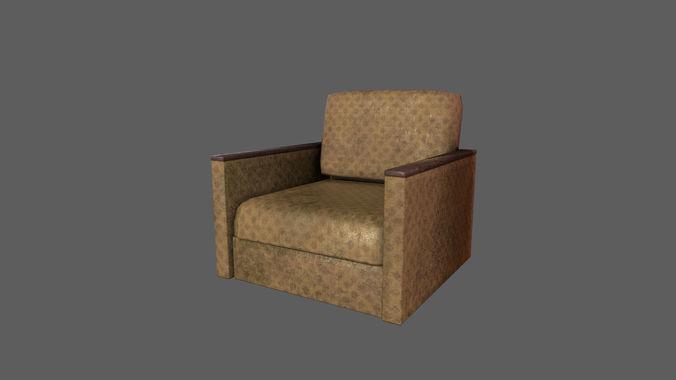 Retro Old Armchair 3d Model Obj Mtl Fbx 1 ...
