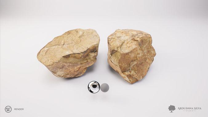 stone 002 - photogrammetry 3d model obj fbx mtl tga 1