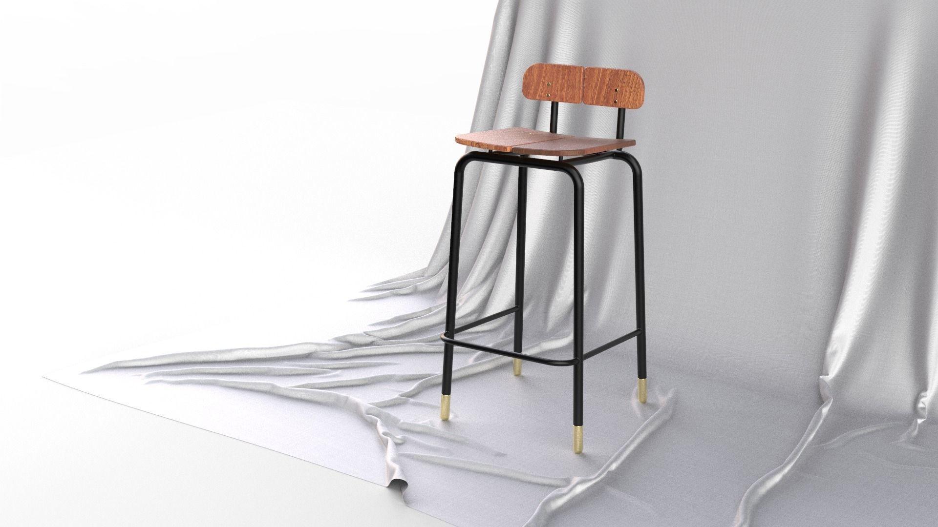 Scandinavian Design Mid Century Modern Bar Stool 3D Model