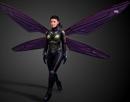 animated the wasp - mcu  3d asset game-ready