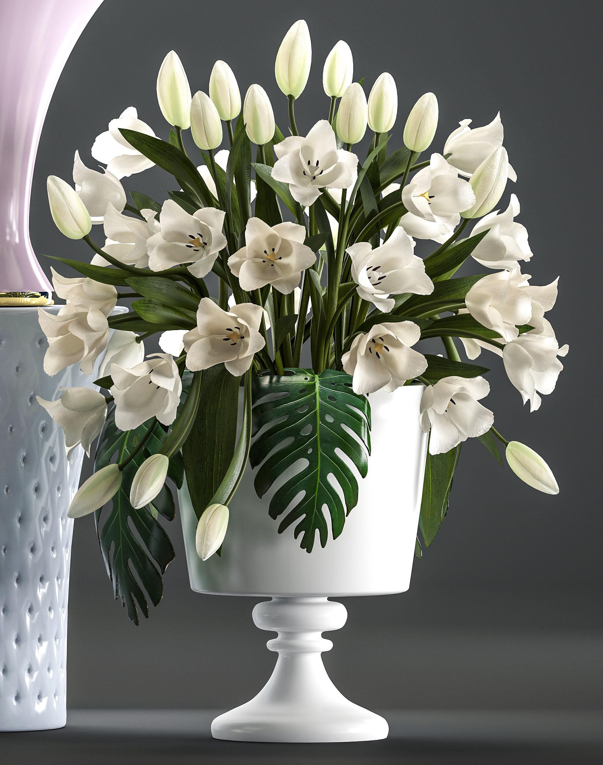 3d model bouquets of white flowers in vases cgtrader bouquets of white flowers in vases 3d model max obj mtl fbx 3 izmirmasajfo