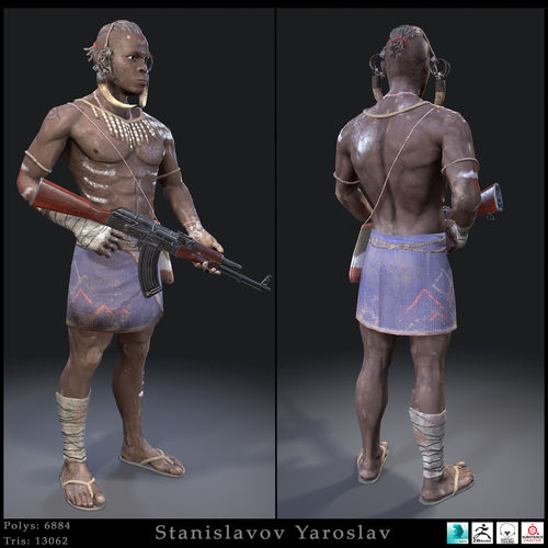 african character 3d model low-poly max obj mtl 3ds fbx 1