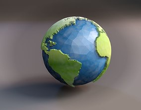 Globe Low Poly with clouds 3D model earth