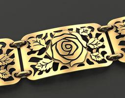 Plate bracelet with roses 3D printable model