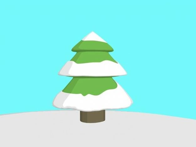 Cartoon Snow Covered Pine Tree 3D