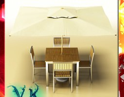 Exterior Bar Table Chair and Parasol 3D Model