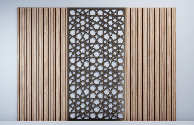 Wooden Wall Panel Decoration Model