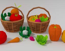 3D asset Vegetables with vegetable basket