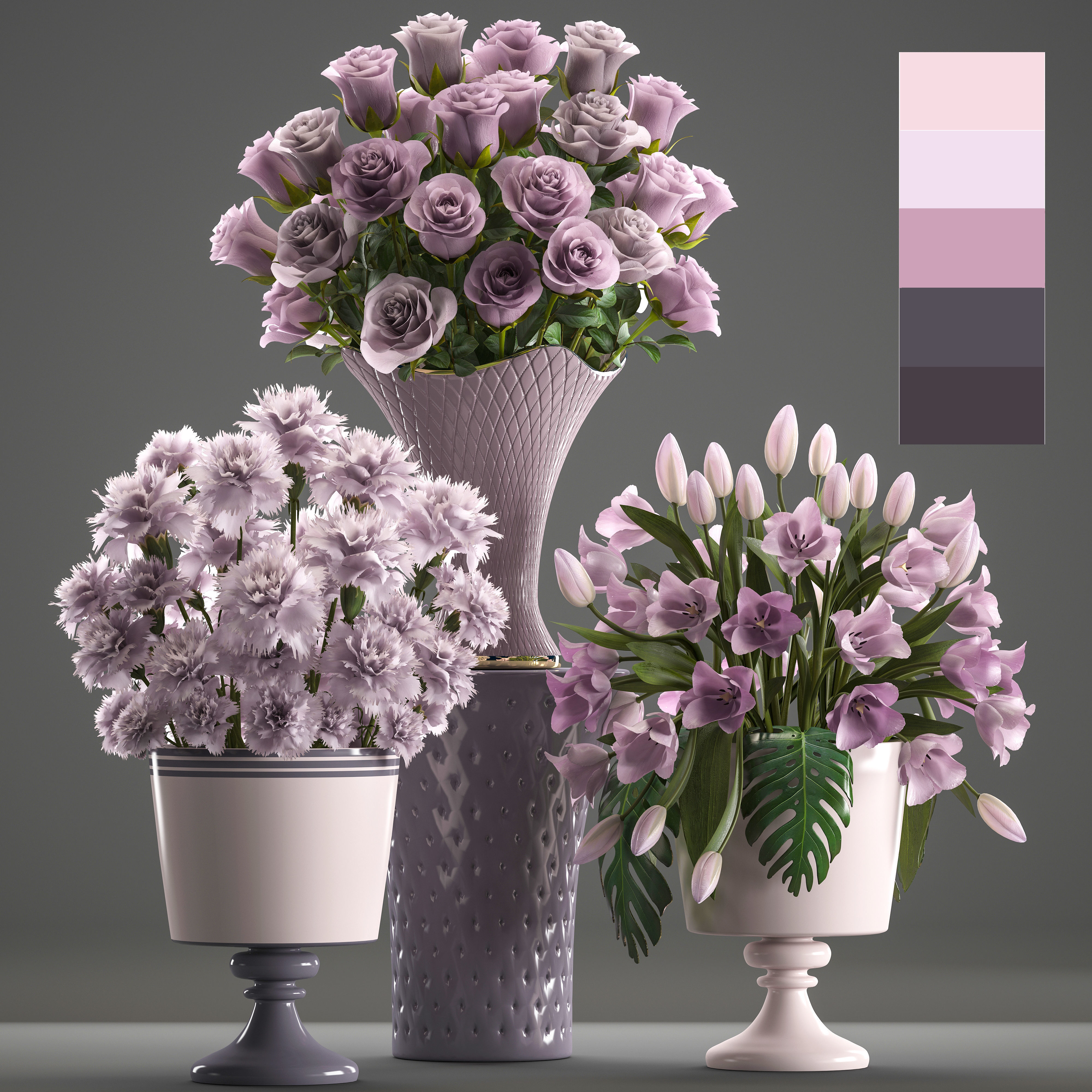 CGTrader & Bouquets of flowers in vases | 3D model