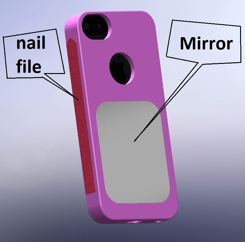 iPhone 5 Case with Mirror and nail file 3D model