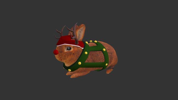 christmas rabbit 3d model blend gltf glb 1