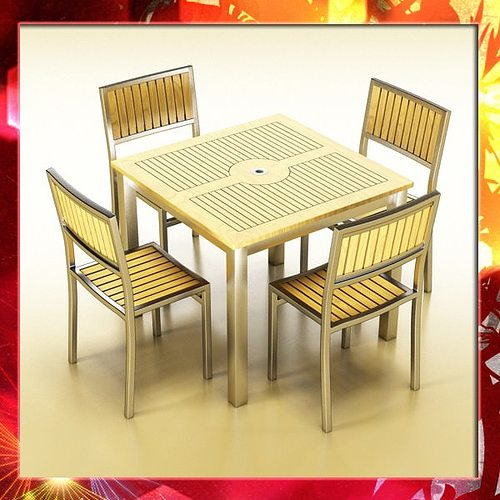 3D Bar Table And Chair