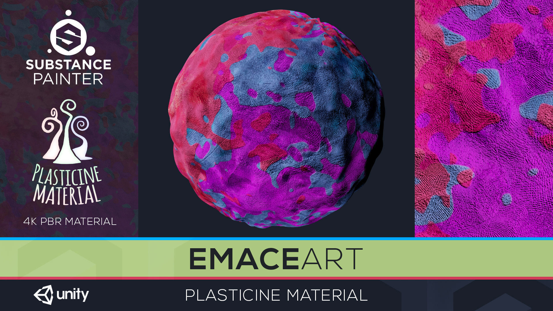 PBR Toon Plasticine sbsar Material 4 Substance Unity Material | Texture