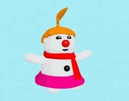 rigged cartoon boulette female snowman 3d