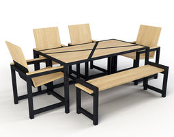 Industrial Dining Set 3D model low-poly