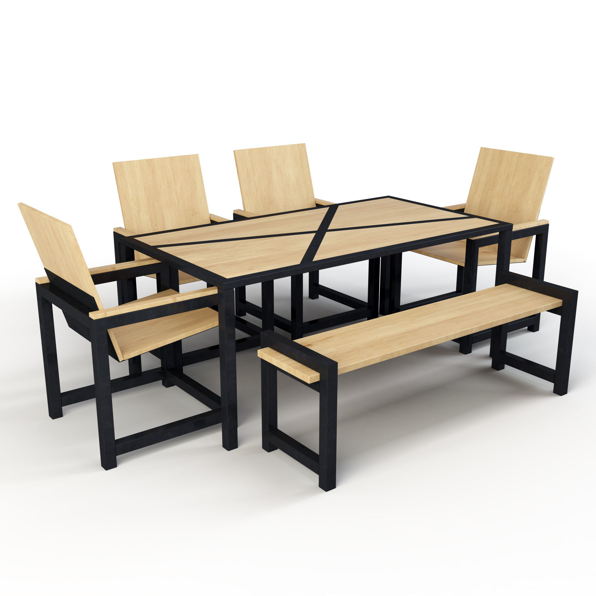 Industrial Dining Set 3d Model Low Poly Max Obj Mtl Mat 1 ...